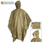 "Olive Green Poncho With Built-In Hood – Military Grade, Unisex – Waterproof, Grommeted Corners – 90 1/2""x56 3/4"""