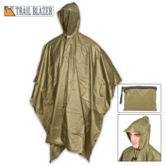 "Olive Green Poncho With Built-In Hood - Military Grade, Unisex - Waterproof, Grommeted Corners - 90 1/2""x56 3/4"""