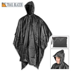 "Black Poncho With Built-In Hood – Military Grade, Unisex – Waterproof, Grommeted Corners – 90 1/2""x56 3/4"""