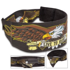 Proud Eagle Chop Top Doo Wrap - Bandana Material, Terrycloth Sweatband, Double-Sided Tail, Hook And Loop Closure