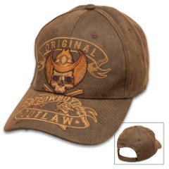 Original Cowboy Outlaw Cap – Oilskin Material, Six-Panel Hat, Embroidered Artwork, Hook And Loop Closure