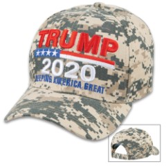 Trump 2020 Digital Camouflage Cap - Hat, 100 Percent Cotton Construction, Embroidered Message, Adjustable Velcro Strap