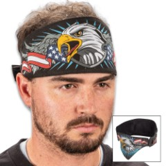 Patriot Eagle Chop Top Doo Wrap - Bandana Material, Terrycloth Sweatband, Double-Sided Tail, Hook And Loop Closure