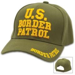 US Border Patrol Cap - Hat, 100 Percent Cotton Twill Construction, Embroidered Message, Adjustable Velcro Strap