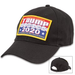 Trump For 2020 Black Cap - Hat, 100 Percent Cotton Construction, Patch With Message, Adjustable Velcro Strap