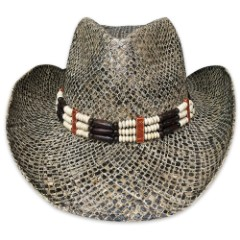 Western Style Straw Hat With Beaded Band