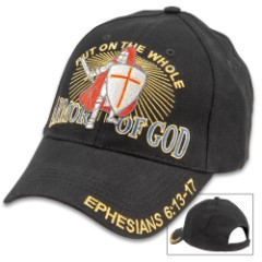 Armor Of God Knight Black Cap - Hat, 100 Percent Cotton Construction, Embroidered Artwork, Adjustable Velcro Strap