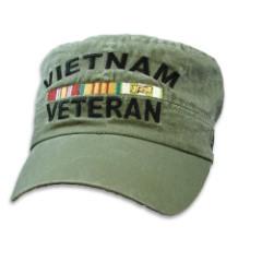 Olive Drab Vietnam Veteran Flat Top Cap - Hat, 100 Percent Cotton Construction, Embroidered Design, Adjustable Band