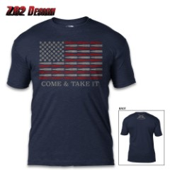 Come And Take It Navy T-Shirt – Cotton And Poly, Athletic Fit, Tagless, Screen-Printed Original Artwork
