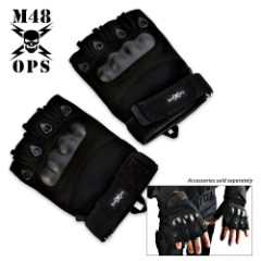M48 OPS - LARGE - Tactical Law Enforcement Half Finger Glove Black