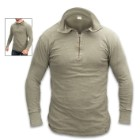 German Military Olive Drab Tricot Shirt With Zipper – Used, 100 Percent Cotton, Rib-Knit Cuffs, Quarter-Zip Neck