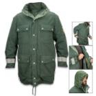 German Polizei Border Patrol Parka - Used, Gor-Tex Material, Removable Fleece Lining, Hidden Hood, Reflective Strips