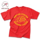 Officially Licensed US Marines Red Bulldog T-Shirt – Washed Polyester Cotton Blend, Vintage Look, Tagless