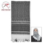 Rotcho Desert Shemagh – Tactical Desert Scarf, 100 Percent Woven Cotton, Breathable, Heat And Cold Protection - Black And White