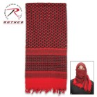 Rotcho Desert Shemagh - Tactical Desert Scarf, 100 Percent Woven Cotton, Breathable, Heat And Cold Protection - Red And Black