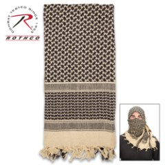 Rotcho Desert Shemagh – Tactical Desert Scarf, 100 Percent Woven Cotton, Breathable, Heat And Cold Protection