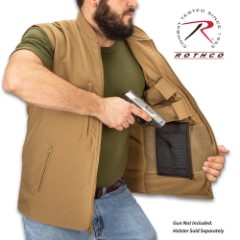 Coyote Brown Safari Outback Concealed Carry Vest - Waterproof Polyester Outer, Fleece Lining, Four Outside Pockets, Four Inside Pockets