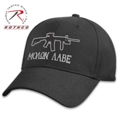 Molon Labe Low Profile Black Cap – Cotton Twill Construction, Embroidered Artwork, Padded Sweatband, Hook And Loop Closure