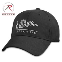 Join Or Die Low Profile Black Cap – Cotton Twill Construction, Embroidered Artwork, Padded Sweatband, Hook And Loop Closure