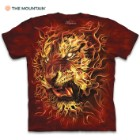 Fire Tiger Red T-Shirt – Pre-Shrunk 100 Percent Cotton, Soft Feel, Classic Fit, Hand-Dyed, Reinforced Stitching