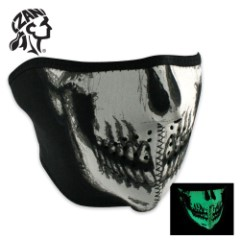 ZANheadger Glow In The Dark Skull Face Neoprene Half Facemask