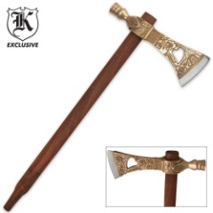 Tribal Peace Pipe Tomahawk With Brass Accents