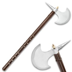 "Roman Legion Spiked Battle Axe - Carbon Steel Axe Head, Hardwood Handle, Sharp Spike - Length 28"""