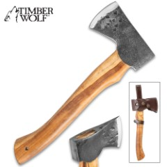 Timber Wolf Appalachian Axe With Belt Sheath - 1095 Carbon Steel Rough Hewn Head, Wooden Handle, Lanyard Hole - Length 11""