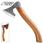 Timberwolf Viking Axe - Rough-Hewn Carbon Steel Head, Satin Blade Edge, Curved Wooden Handle - Length 12 1/4""