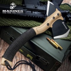 USMC Field Axe With Sheath - Stainless Steel Head, Stonewashed Coating, Paracord Wrapped ABS Handle - Length 11 1/4""