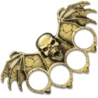 """Skull With Bat Wings Paperweight - Crafted Of Stainless Steel, Solid Knuckle Duster Design - Dimensions 5 1/4""""x 3"""""""
