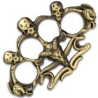 """Skull And Ram Skull Paperweight - Crafted Of Stainless Steel, Solid Knuckle Duster Design - Dimensions 4 1/2""""x 3"""""""