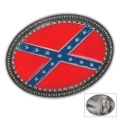 Oval Confederate Flag Belt Buckle
