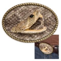 Genuine Rattlesnake Head Belt Buckle