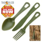Trailblazer 3-Piece Lexan Outdoor Dining Utensil Set on Carabiner - BOGO
