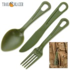 Trailblazer 3-Piece Lexan Outdoor Dining Utensil Set on Carabiner - Army Green