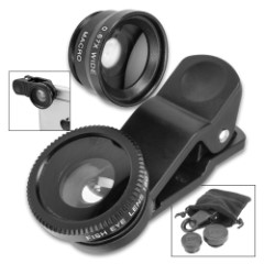 Universal Cell Phone Camera Clip-On Lens – Fish-Eye, Macro, Wide-Angle, Attachment Clip, Lens Caps, Carrying Bag