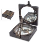 """Replica Antique Compass - Solid Iron And Brass Construction, Mirrored Lid, Specialized Instrument - Dimensions 4""""x 4""""x 1 1/4"""""""