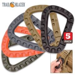 Trail Blazer Tactical Carabiner - Multi-Color 5-pack