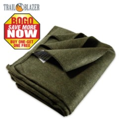 "Trailblazer Wool Blanket - Olive Drab Green - 51"" x 80"" - 2 Pounds - Heavy and Warm - BOGO"