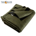 "Trailblazer Wool Blanket - Olive Drab Green -  51"" x 80"" - 2 Pounds - Heavy and Warm"