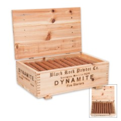 Black Rock Powder Dynamite Fire Starter Sticks With Wooden Crate