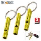 Trail Blazer Yellow Mini Aluminum Emergency Whistles - Three-Pack - Compact Construction, Keyring