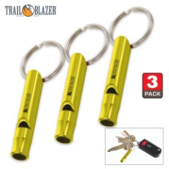 Trail Blazer Yellow Mini Aluminum Emergency Whistles – Three-Pack – Compact Construction, Keyring