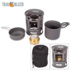 Trailblazer Alcohol Burner Camp Stove and Cookware Set