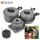 Trailblazer 8-Piece Outdoor Cookware Set with Nylon Carrying Bag - Cooks 3 to 4-Person Meals