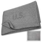 "Reproduction US Military Medic Grey Wool Blanket - 80 Percent Wool Construction, Printed Logo - Dimensions 64""x 84"""