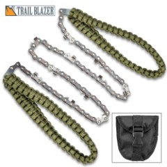 """Trailblazer Pocket Paracord Chain Saw With Pouch - High Carbon Steel Construction, 11 Sharp Teeth, 24"""" Saw Length - Overall 39 1/2"""""""