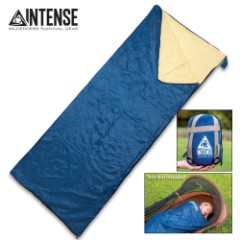 """Intense Sleeping Bag With Compression Straps And Stuff Sack - Lightweight Nylon And Fleece Construction, Water-Resistant - 73""""x 29"""""""