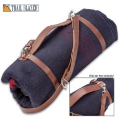 Kriegar Blanket Carry Wrap - Genuine Leather, Metal Buckles, Swivel Clips, Rings And Rivets, Adjustable Shoulder Strap